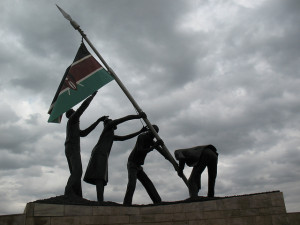"Raising the Kenyan Flag. Courtesy: Aaron Knox, Flikr, ""Raising the Flag""."